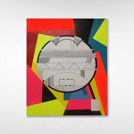 "Jordan Bennett, Time Travel with Daphne, 2017 48""H x 60""W x 1.75"" D Acrylic paint on Cradled Wooden Panel"