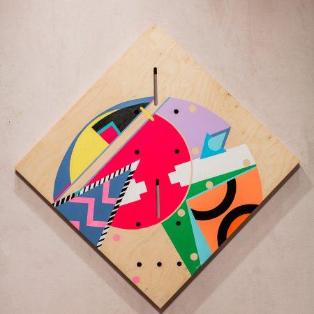 "Jordan Bennett, Gept'g, 2016 36""H x 36""W x 1.75"" D Acrylic paint on Cradled Wooden Panel"