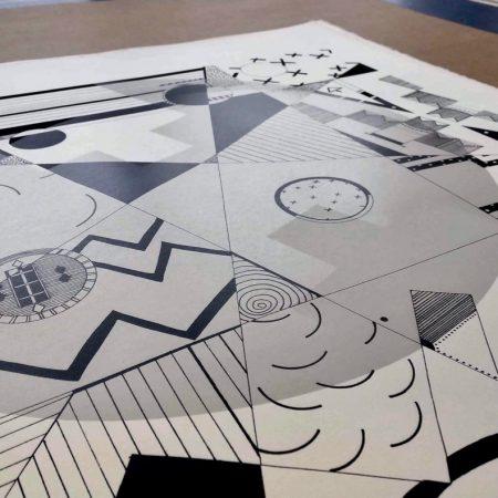 Detail, Jordan Bennett, Listening through Rocks, Paddles, Baskets, Lids & Seats, 2018