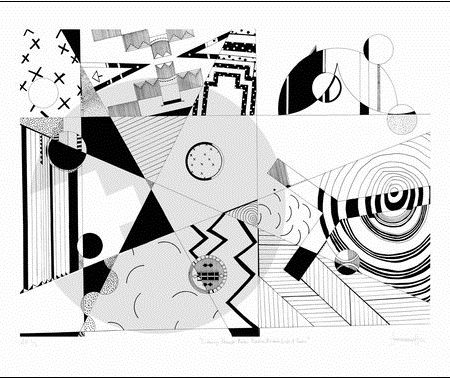 "Jordan Bennett, Listening Through Rocks, Paddles, Baskets, Lids & Seats, 22'' H x 30"" W, 2018, Silk Screen on Arches 88"