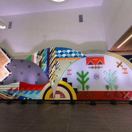 Jordan Bennett, Pjila'si (Welcome), 2019, commissioned by Halifax Public Art Program and the Zatzman Sportsplex (Dartmouth, NS), Photo: Chantal Routhier