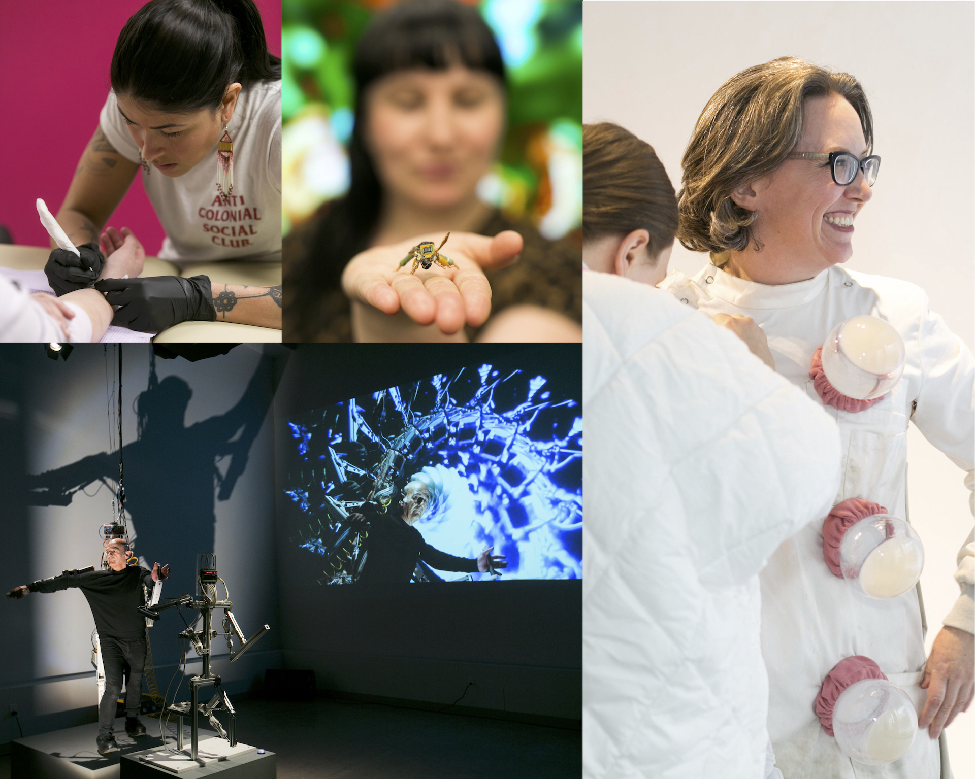 "IOTA Institute's Bio Art Series, 2019, artists depicted (clockwise): Earthline Tattoo Collective (participant: Quill Christie-Peters), Ruth Marsh ""Cyberhive"", Jennifer Willet ""Untitled: Travelling Laboratory Coat"", Stelarc ""StickMan/miniStickMan"", photo credit: Chantal Routhier Photography"