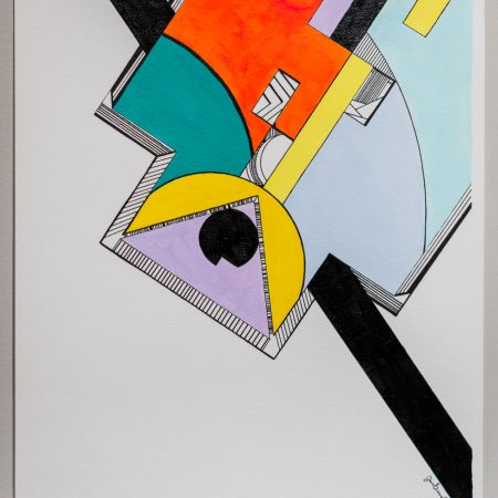 """Jordan Bennett, The Two Black Quills Extend, 2014 12""""H x 9""""W Acrylic paint and Ink on Paper"""