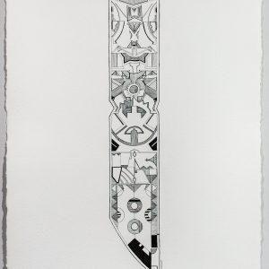 "Jordan Bennett, Ktaqamkuk 1, 2014, 30"" H x 22.5"" W, Ink on Paper"