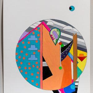"Jordan Bennett, Petapan Sydney, 2015, 12"" H x 9"" W, Acrylic paint and Ink on Paper"